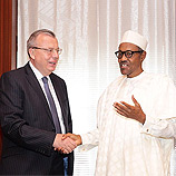 UNODC Executive Directory, Yury Fedotov (left), with Nigerian President Muhammadu Buhari (right)
